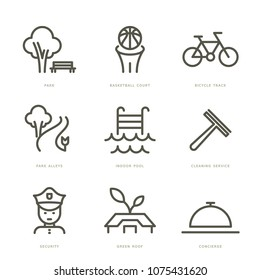 Residence services icons set. Vector line icons.