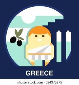 Resident of Greece in traditional clothes and on the national background in flat style, vector illustration