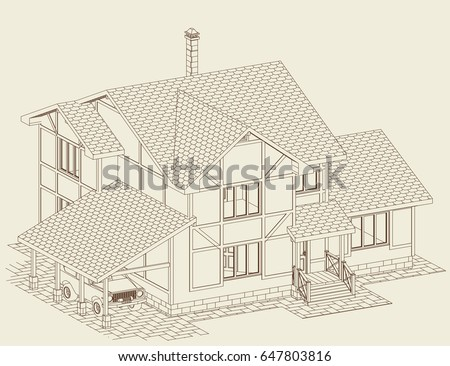 Residental House Brick Halftimbered Frames Carport Stock Vector ...