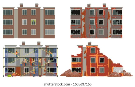Residential apartment building at different stages of wear. Vector illustration. Isolated on a white background.