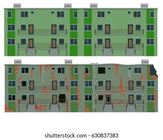 Residential apartment building. New and old house. Vector illustration, a flat style design