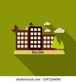 Residential area with houses, parks, trees and clear clud. The leaf grows on the house. Text Eco city