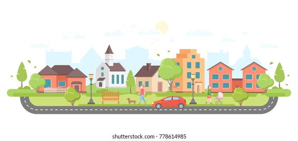Residential area - modern flat design style vector illustration on white background. Housing complex with small buildings, trees, pedestrian zone with people walking, car on the road, lanterns, church