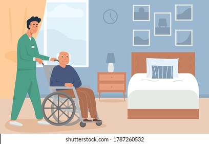Residential care facility. A caretaker with old man on wheelchair. A bedroom in nursing home or retirement home. Scene of disabled elderly person with social worker at home. Concept of assisted living