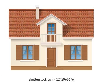 Residential house facade with a tiled roof and shutter on the window. Small private home. Suburban building front.