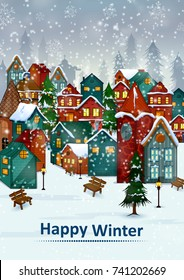 Residential house on Happy Winter celebration greeting background for Merry Christmas in vector