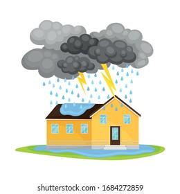 Residential House Undergoing Heavy Rain with Lightning and Thunder Vector Illustration