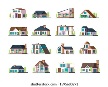 Residential house. Village building exterior modern townhouses vector collection set