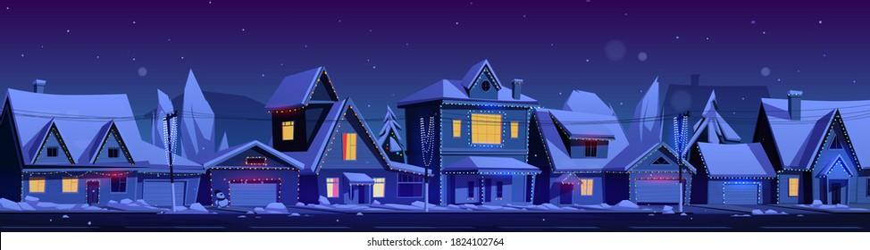 夜にクリスマスの飾りと住宅。 郊外の街並み、屋根に雪の降る別荘、ホリデーガーランドを持つベクターカートの冬の風景