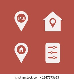 residential icon. residential vector icons set house location, filter and sale location