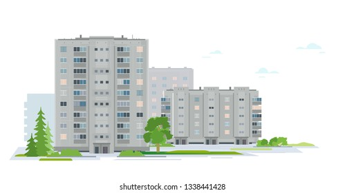 Residential neighborhood of eastern european city with trees and plants, group of grey houses in sleeping district of city isolated