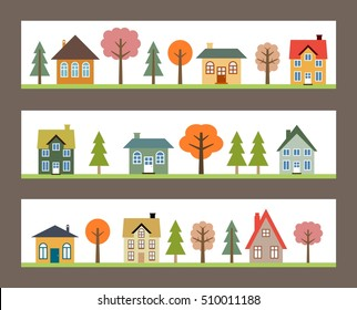 Residential neighborhoods - three banners with vector small towns.