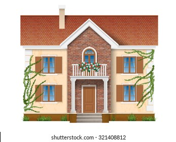 Residential private house, two floors, with balconies with flowers and overgrown with ivy. Vector realistic illustration.  Isolated on white background.