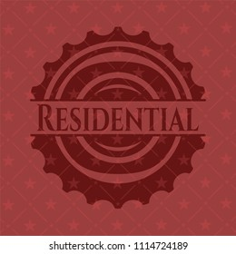 Residential realistic red emblem