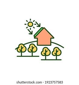 Residential solar panels RGB color icon. Alternative energy source. Sustainable power generation for country home. Smart house. Electricity from sun light. Isolated vector illustration