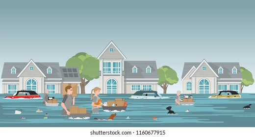 Residents family carrying belongings and pet to walk in high waters after devastating floods in village, residents in walk through a flood vector illustration.
