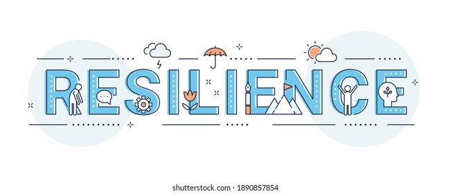 Resilience, Coping with Stress and Crisis. Emotional and Psychological Ability Illustration Sign. Vector Design
