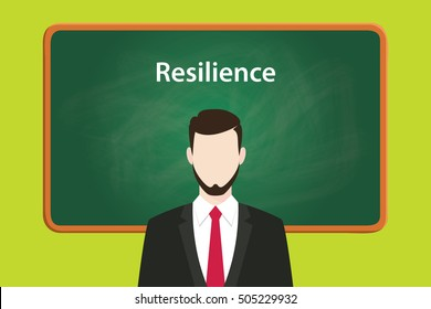resilience illustration concept with business man standing on front of blackboard or greenboard using suit