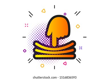 Resilience material sign. Halftone circles pattern. Elastic icon. Classic flat elastic icon. Vector