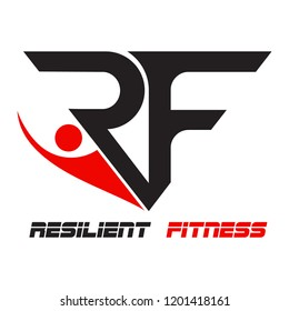 """Resilient Fitness Logo Template """"RF"""""""