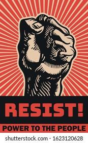 resist protest propaganda poster vector art fist in the air rebellion
