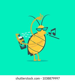 Resistance of an insect to pesticides. Flat illustration vector design.