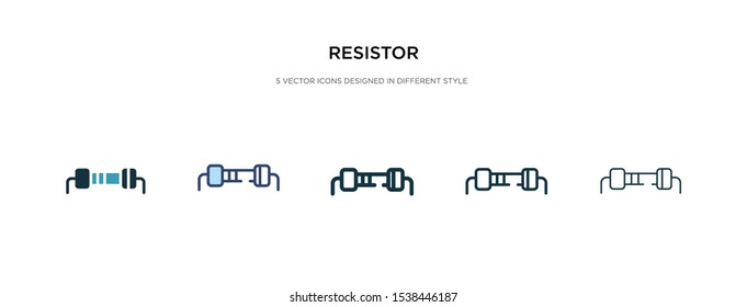resistor icon in different style vector illustration. two colored and black resistor vector icons designed in filled, outline, line and stroke style can be used for web, mobile, ui