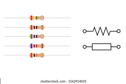 Resistor isolated electrical parts vector including resistors vector and resistor symbol electronic
