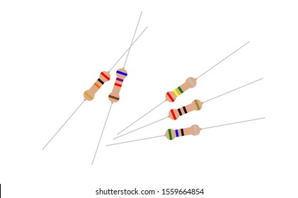 Resistor symbol color of 5 set of colour code of electronic resistance. Resistor isolated vector with resistor color code and resistors connection.