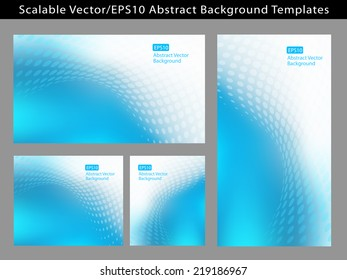 Re-sizable Abstract Cool Blue EPS10 Vector Background Templates with dot waves and plenty of text space.