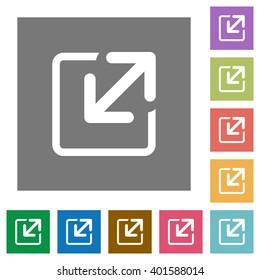 Resize element flat icon set on color square background.