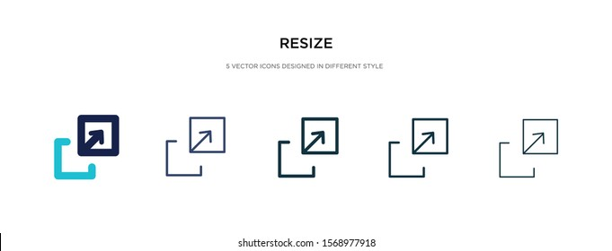 resize icon in different style vector illustration. two colored and black resize vector icons designed in filled, outline, line and stroke style can be used for web, mobile, ui