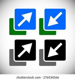 Resize, minimize, maximize icons, symbols.