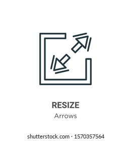 Resize outline vector icon. Thin line black resize icon, flat vector simple element illustration from editable arrows concept isolated on white background