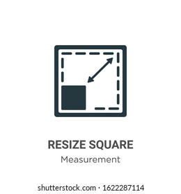 Resize square glyph icon vector on white background. Flat vector resize square icon symbol sign from modern measurement collection for mobile concept and web apps design.