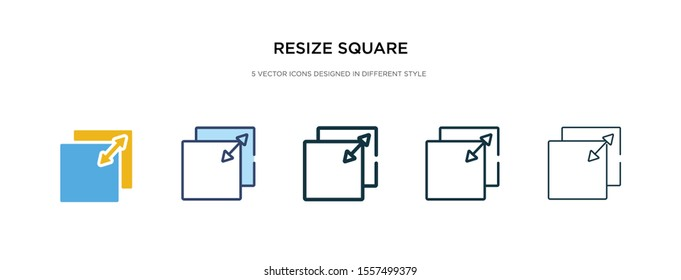 resize square icon in different style vector illustration. two colored and black resize square vector icons designed in filled, outline, line and stroke style can be used for web, mobile, ui