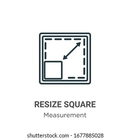 Resize square outline vector icon. Thin line black resize square icon, flat vector simple element illustration from editable measurement concept isolated stroke on white background