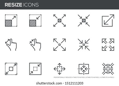 Resize vector line icons set. Scaling, increase, decrease. Editable stroke. Perfect pixel icons, such can be scaled to 24, 48, 96 pixels.