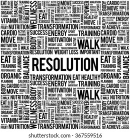 RESOLUTION word cloud background, health concept