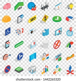 Resolve icons set. Isometric style of 36 resolve vector icons for web for any design