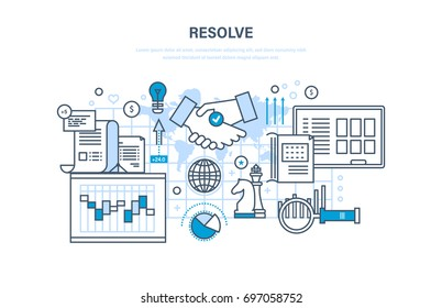 Resolve, solution of issues, efficiency of activities, strategic planning, time management and control, cooperation, teamwork. Illustration thin line design of vector doodles, infographics elements.