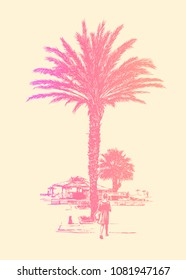 Resort Landscape With Palm Tree And Girl Walking To The Beach. Vector Illustration.