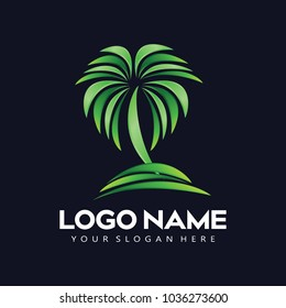 resort logo with beach and coconut palms view