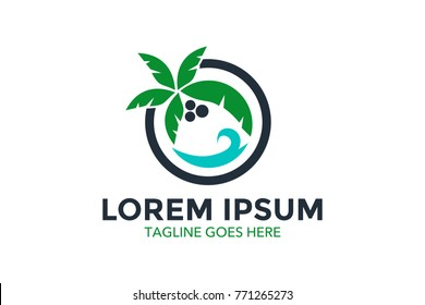 resort logo with beach and coconut palms view. vector illustration. editable