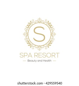 Resort Spa Logo, Isolated on White Background