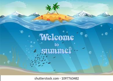 Resort topical island. Invitation card. Underwater coral reef seabed and water surface with tropical isl stock image