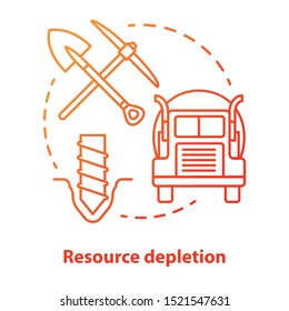Resource depletion concept icon. Natural minerals exhaustion idea thin line illustration in red. Nonrenewable resources, extraction and consumption. Vector isolated outline drawing