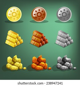 Resource icons for games. Gold, silver and copper. Vector illustration.