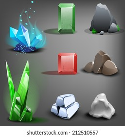 Resource icons for games. Vector.