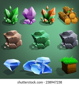 Resource icons for games. Vector illustration.